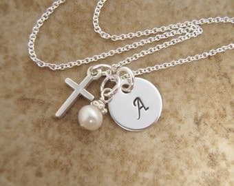 "Girl's Cross and Initial Necklace - Goddaughter gift - First Communion Necklace - DAINTY 3/8"" initial and cross - Photo NOT actual size"