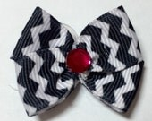 Black & White Chevron Dog Grooming Hair Bow with Red Rhinestone Center
