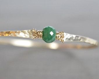 Emerald Bracelet, May Birthstone Bracelet, Gold Hammered Bangle, Genuine Emerald, Emerald Bangle Bracelet