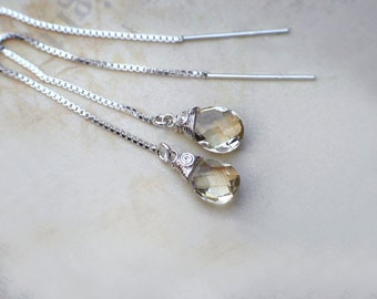 Oregon Sunstone Ear Threader Earrings | Champagne Pear Briolettes | Sterling Silver Wire Wrapped | Petite Chain Drop Dangles | Made to Order
