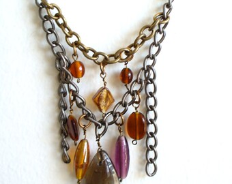 Chain and glass Statement necklace
