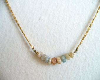 Delicate gold necklace with gemstone rondelles, feminine necklace, gift for her