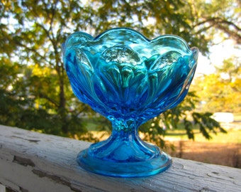 Vintage Cobalt Blue Footed Glass Sherbet Style or Compote Bowl