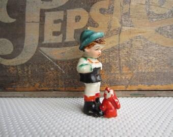 Vintage Lederhosen Boy with Red Rabbit Figurine made in Japan