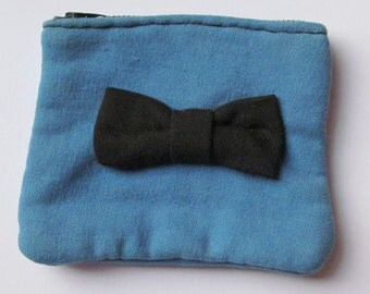 Blue and Black Bow Purse