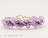Purple Spiral beadwoven bracelet, radiant orchid, purple, with yellow highlight beads, handmade, one of a kind, flower, bold