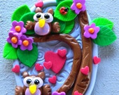 Baby Owls in a tree OOAK polymer clay Artwork for your wall