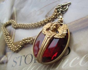 Vintage Angel On Ruby Vintage Glass Gem Necklace
