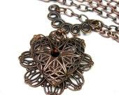 Heart Locket Pendant Necklace, Romantic Filigree Heart, Antique Copper Celtic Knot, Swarovski Crystal, Jewelry Gift Ideas, jewelry by NaLa