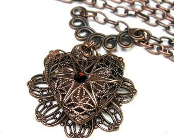 Heart Locket Pendant Necklace, Romantic Filigree Heart, Antique Copper Celtic Knot, Swarovski Crystal, Jewelry Gift Ideas, jewelry by NaLa