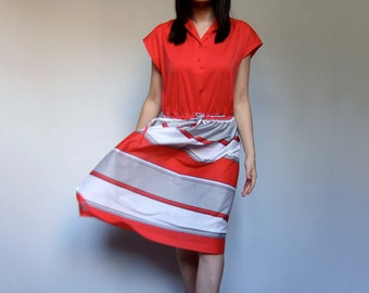70s Red Dress Simple Sleeveless Striped Sundress Casual Day Dress - Large Extra Large L XL