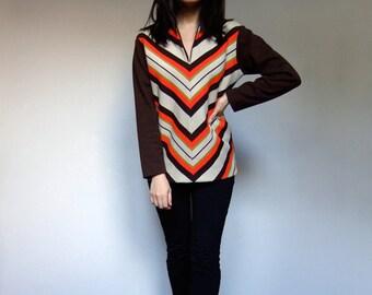 70s Chevron Shirt Striped Fall Winter Vintage Long Sleeve Chevron Top Brown Red Yellow Hippie Shirt - Medium Large M L
