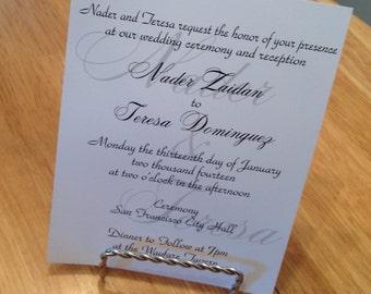 Elegant Fancy Layered 5x7 white black and gray flat Wedding Invitation with faded monogram