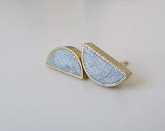 silver shimmer brass half moon stud earrings