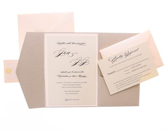 Pocketfold Wedding Invitation with RSVP in Soft Coral Blush Pink with Almond