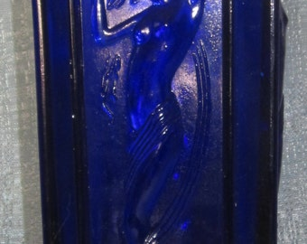 Art Deco 4 Nymph vase in cobalt blueglass made in the USA