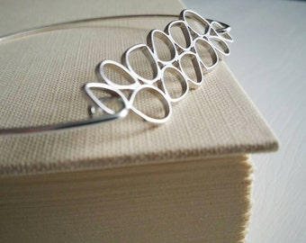 Raindrop or Teardrop .  Silver Stacking Bangle Bracelet Jewelry. Matte Frosted Silver Rain Charm Bracelet.