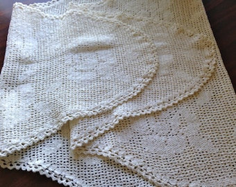 Holiday Sale Vintage Victorian Hand Crocheted Lace Dresser 1920s Runner 54 L / 20 W