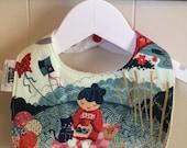 Kimono Tea - Infant or Toddler Bib - REVERSIBLE plus ADJUSTABLE snaps