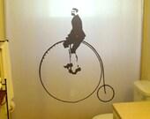 Penny Farthing Shower Curtain Bathroom bicycle High Wheeler Cyclist vintage velocipede balloon tire bike classic bath decor kids bath