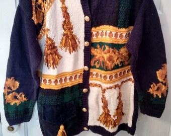 ugly holiday sweater cardigan 90s nineties large cotton tassel tassle jumper 1993