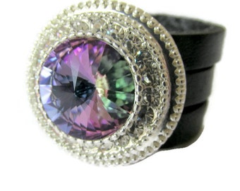 Leather triple band ring sparkly swarovski elements ring vitrail fwb crystal ring