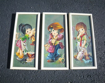 3 Vintage Big Eye Children Nursery Prints - 1970s - L. Vernet