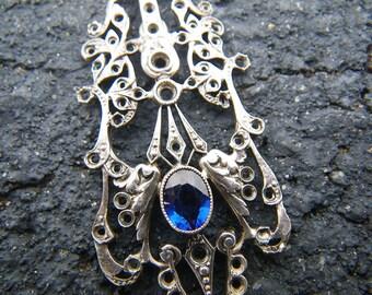 Antique Victorian Cornflower Blue filigree pendant