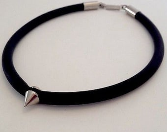Tough Love Solitaire black rubber choker necklace with silver spike