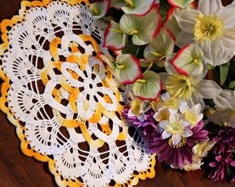 White and Yellow doily