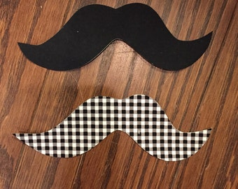Set of 2 Mustaches Iron on Applique, You Choose Fabric