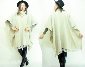 70's Vintage Boho Mexican Wool Blanket Cape Poncho / Crochet Cowl Neck / Fringe Hem / Free Size
