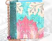 Miniature Book Necklace - Aqua Pink Fleur Design - Eco Friendly Teacher Librarian Author and Book Club Gift