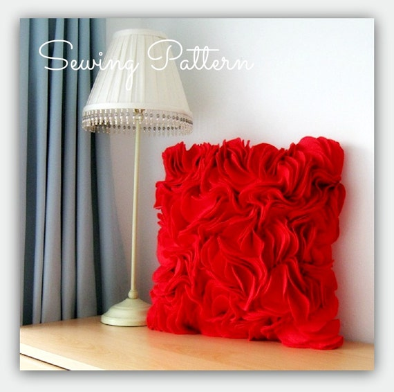 PDF Sewing Patterns make  Felt Ruffle  and Border Cushion Covers