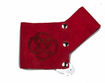Small suede leather scabbard red larp ren faire sword holder game of thrones