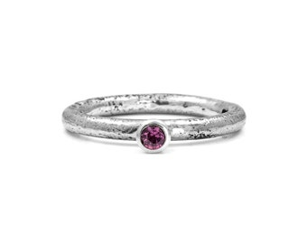 Silver twig and pink sapphire ring - stacking ring - READY TO SHIP