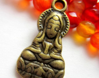 10 Buddha charms Antique bronze Goddess of mercy pendant 26mm 14mm double sided