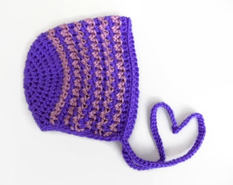 Baby Bonnet, 3-6 Month Old Baby Bonnet, Crochet Baby Hat, Purple Knit Hat