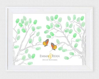 wedding thumbprint tree guest book alternative printable guestbook fingerprint branch butterflies illustration drawing sketch style leaves
