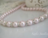 Annabelle - Pink Blush Bridal Wedding Necklace. Swarovski Rosaline Pink Pearl Necklace. Bridesmaids Soft Pink Necklace