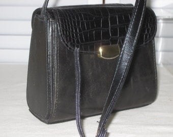 vintage Black Leather Handbag with Shoulder and Cross Body Strap