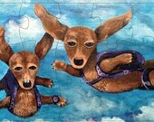 Skydiving Dogs Dachshunds Puzzle Skydiving Art Parachute Painting Print Dachshund