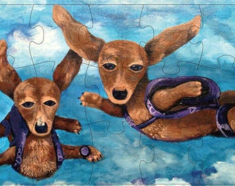 Skydiving Dogs Dachshund Puzzle Skydive Art Parachute Painting Print Flying Dachshunds