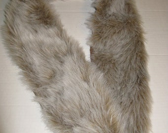 Fur Boa Wrap Scarf White Beige Faux Fur