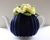 Daffodils on Midnight Blue - Floral Teapot Cosy by Tafferty Designs - size SMALL - fits 1-2 cup teapots