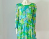 60s water color print SILK DRESS babydoll size medium