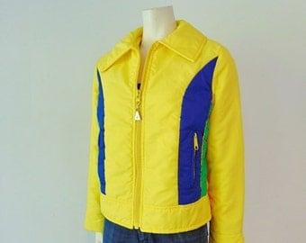 70s bright yellow MOD Ski Jacket size medium