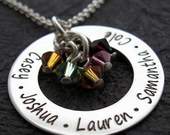 "Personalized 1"" Simple Eternity loop w/5 crystals mother necklace - Personalized Necklace - Engraved Necklace - Loop necklace - mom necklace"