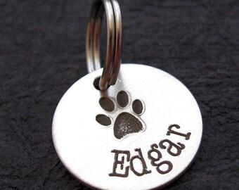 Dog Tag Charm - Cat Tag Charm - Personalized Charm - Name Charm - Silver Jewelry -  SIENNA personalized animal tag charm