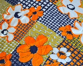 Vintage Fabric - Mod Silky Polyester in Orange and Navy - By the Yard